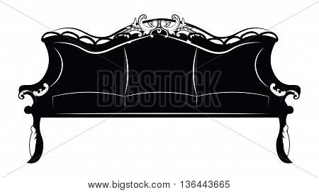 Royal luxury sofa furniture with baroque ornaments. Vector sketch rich furniture