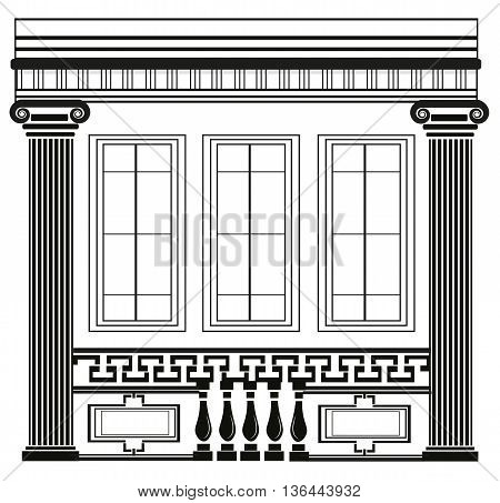 Architectural Classic House facade with Corinthian columns. High detailed architecture frontal view