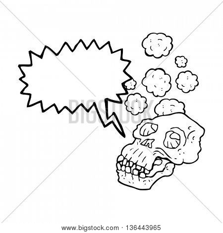 freehand drawn speech bubble cartoon ancient skull