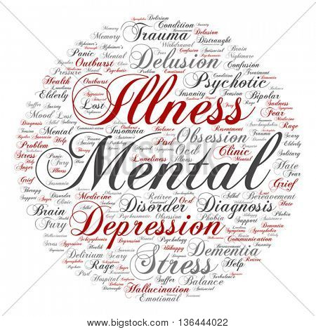 Vector concept mental illness disorder management or therapy round abstract word cloud isolated on background, metaphor to health, trauma, psychology, help, problem, treatment or rehabilitation
