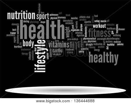 Vector concept or conceptual abstract health diet or sport word cloud or wordcloud isolated on background