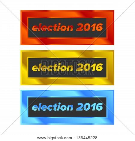Shiny Colored Rectangle Badge with Election tag