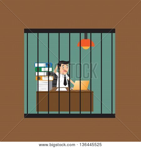 Bored businessman working in cagevector vector illustration.