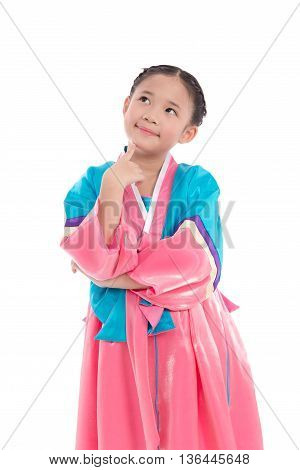 Asian girl in Korean Traditional Dress thinking on white background isolated