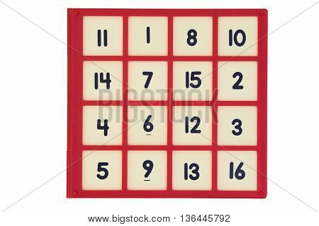 number sliding puzzle game isolated on white