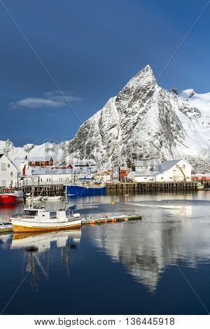 Small fishing harbor on Hamnoy Island during winter time Lofoten Islands North Norway