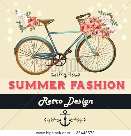 Fashion summer background illustration or save the date card with rose flowers and bicycle hipster retro style