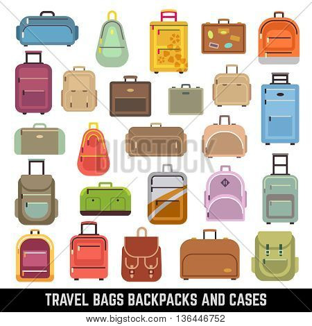 Travel bags backpacks and cases color vector icons. Bag and case for travel, set of icon luggage and bags. Vector illustration
