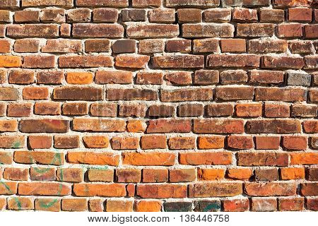 Damaged Red Brick Wall Background