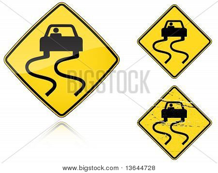 Variants A Slippery When Wet - Road Sign