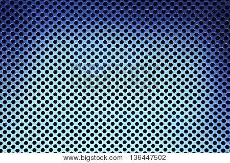 Dark Blue Metal Grate Background texture close up