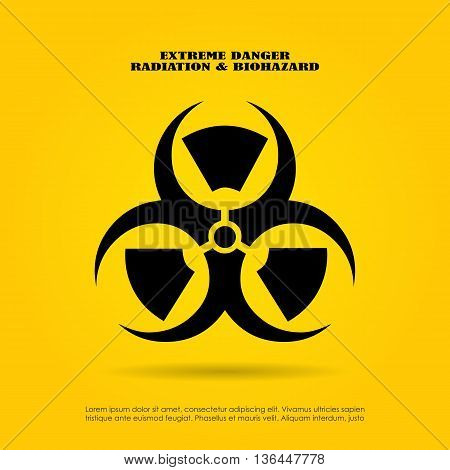 Extreme danger symbol radiation and biohazard mix
