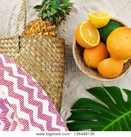 Summer Beach Pineapple Oranges Watermelon Concept