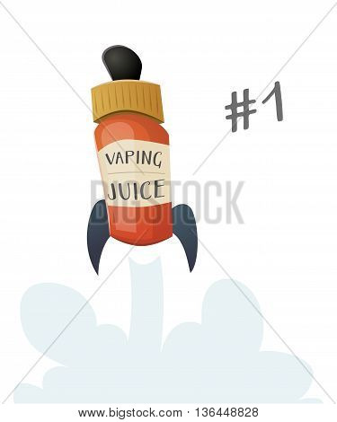 Bottle of vaping fluid juice starting as a rocket with a cloud of vapor. Vector cartoon illustration for print and web. Stop smoking, start vaping.