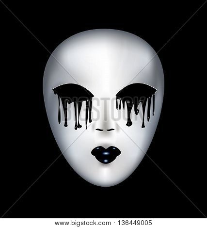 black background and a white mysterious mask