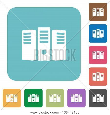 Flat server hosting icons on rounded square color backgrounds.