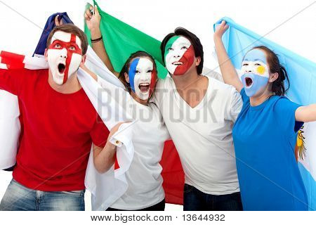Group of excited football fans with painted faces isolated over a white background