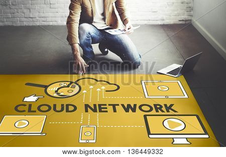 Cloud Network Storage Technology Connection Concept
