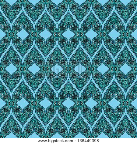 Seamless Blue Pattern with Elements of Doodle Feather for Design