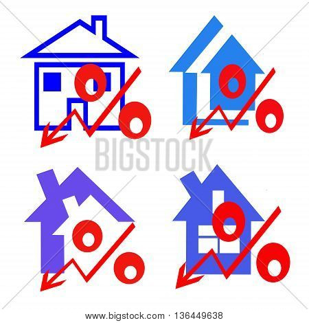 The red badge of interest on the background of houses . The concept of price reduction real estate