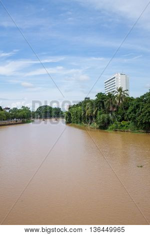 One of the great view of Ching Mai city is Ping river. June 22-2016 Chiang Mai Thailand.