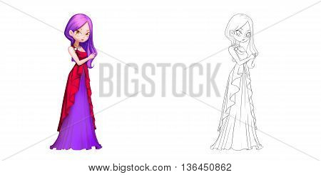 Coloring Book and Princess Girl Character Design Set 16 The Blood-Red Cat Vampire Princess isolated on White Background Realistic Fantastic Cartoon Style Character Story Card Sticker Design