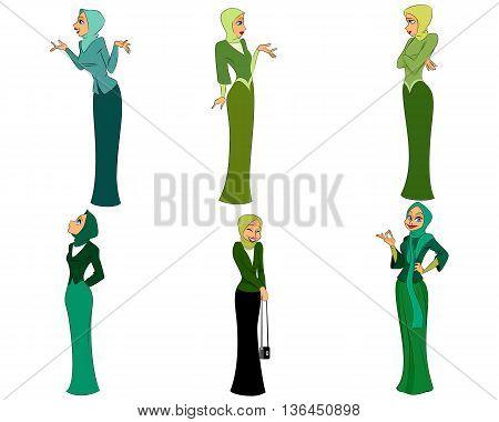 Vector illustration of a six modern women