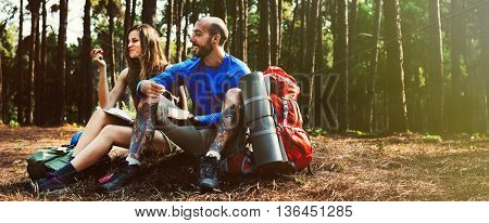Camping Friendship Couple Eating Backpacker Concept