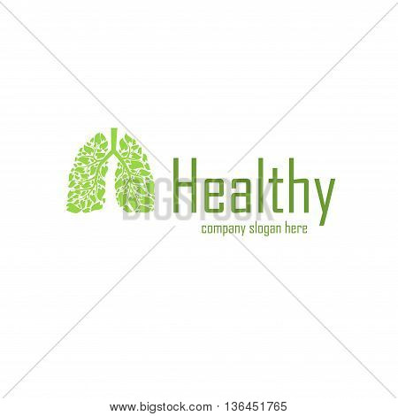 Green lungs silhouette with sample company slogan
