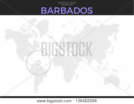 Barbados location modern detailed vector map. All world countries without names. Vector template of beautiful flat grayscale map design with selected country and border location