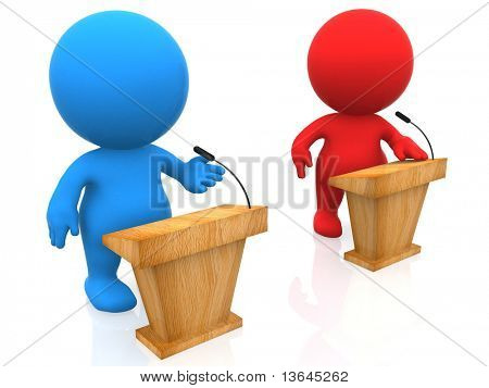 3D people in a debate isolated over a white background