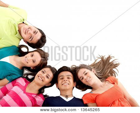 Group of friends lying on the floor - isolated over a white background