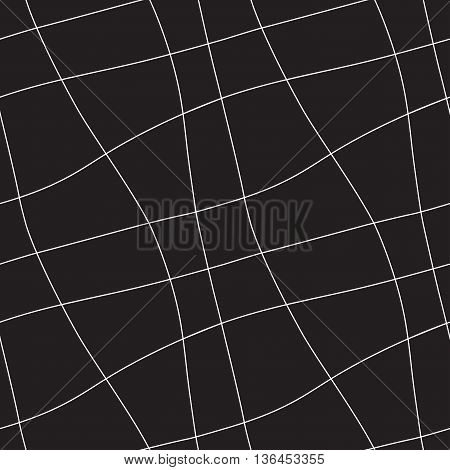 Seamless abstract geometric ornament with white lines on black background