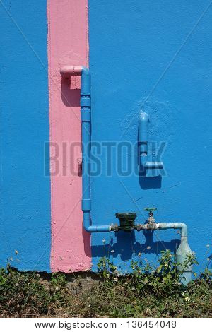 water meters and water pipe  on  Complementary color background