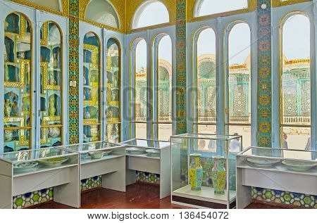 BUKHARA UZBEKISTAN - APRIL 29 2015: The collection of the precious porcelain vases in the glass room of Sitorai Mokhi-Khosa Palace on April 29 in Bukhara.