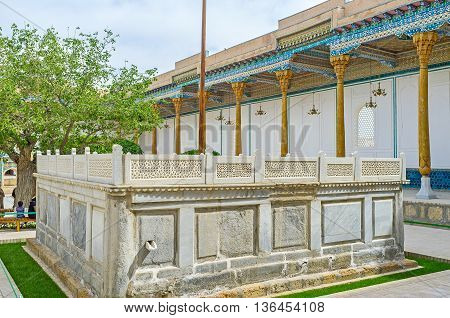 The Mausoleum of Sheikh Naqshband is the place of the common muslim prayers and pilgrimages Bukhara Uzbekistan.