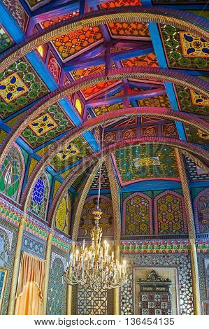 BUKHARA UZBEKISTAN - APRIL 29 2015: The Sitorai Mokhi-Khosa Palace is the perfect example of the traditional Uzbek architecture and interior design on April 29 in Bukhara.