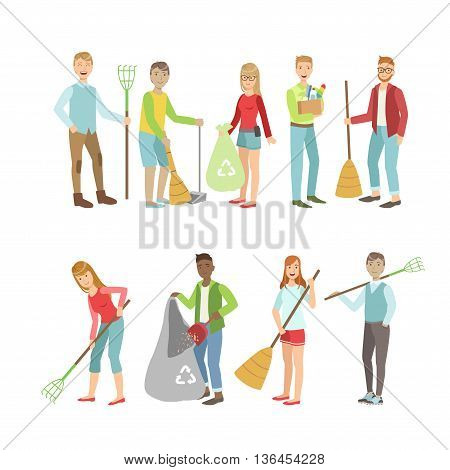 Adult People Cleaning Up Outdoors Set Of Simple Cartoon Flat Vector Colorful Characters On White Background