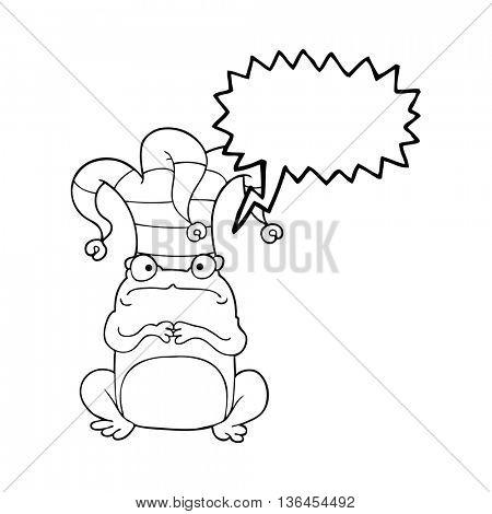 freehand drawn speech bubble cartoon frog wearing jester hat