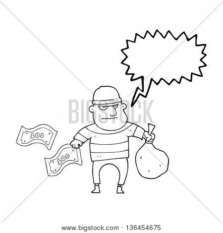freehand drawn speech bubble cartoon bank robber