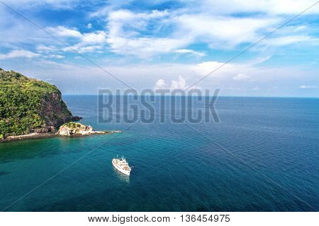 Calm sea and blue sky with clear bright sky in vacations on summer andaman Sea koh lanta krabi thailand