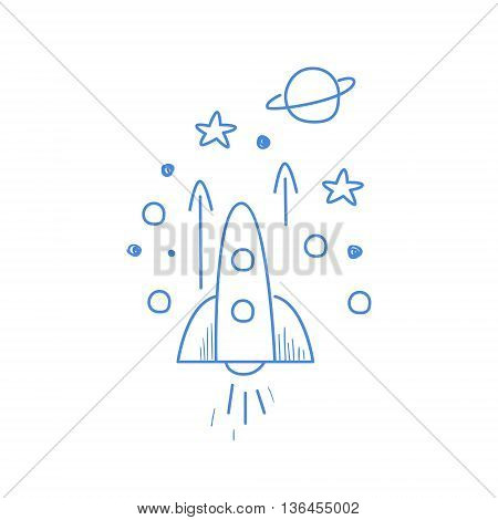 Rocket Going Up In Space Funny Hand Drawn Childish Illustration In Funny Comic Style On White Background