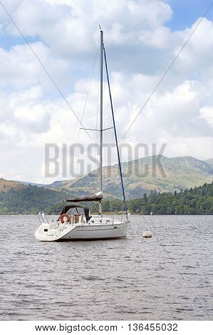 Yacht moored on Lake Windermere in Cumbria