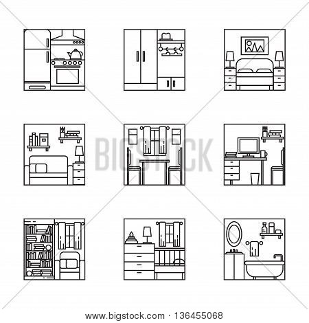 Black and white house rooms interiors collection line art thin line design