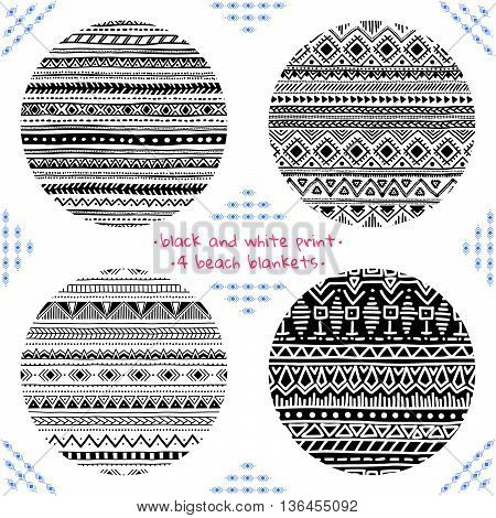 Round geometric print for a beach blanket. Lovely summer pattern. Black and white vector illustration drawn by hand. Vector ornaments set.