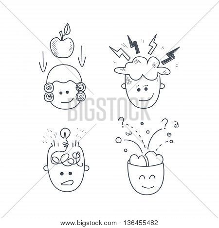Man Characters With The Idea Set Funny Hand Drawn Childish Illustration In Funny Comic Style On White Background