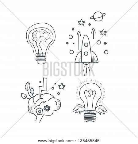 Idea Symbolic Icon Set Funny Hand Drawn Childish Illustration In Funny Comic Style On White Background