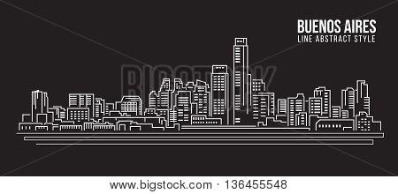 Cityscape Building Line art Vector Illustration design - Buenos aires city