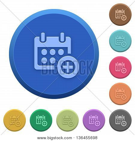 Set of round color embossed Add to calendar buttons