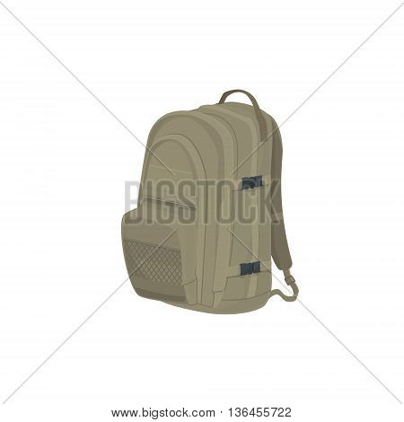 Beige Backpack Isolated on White Background, a Luggage Bag for Traveling, Travel Bag, Vector Illustration